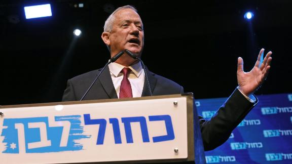 Benny Gantz, leader and candidate of the Israel Resilience party that is part of the Blue and White (Kahol Lavan) political alliance, addresses supporters at the alliance