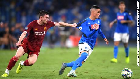 Jose Callejon is fouled by Andy Robertson.