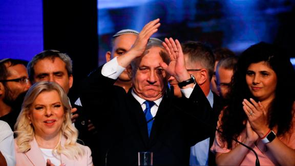 Israeli Prime Minister Benjamin Netanyahu thanks supporters at party headquarters in Tel Aviv on Wednesday.