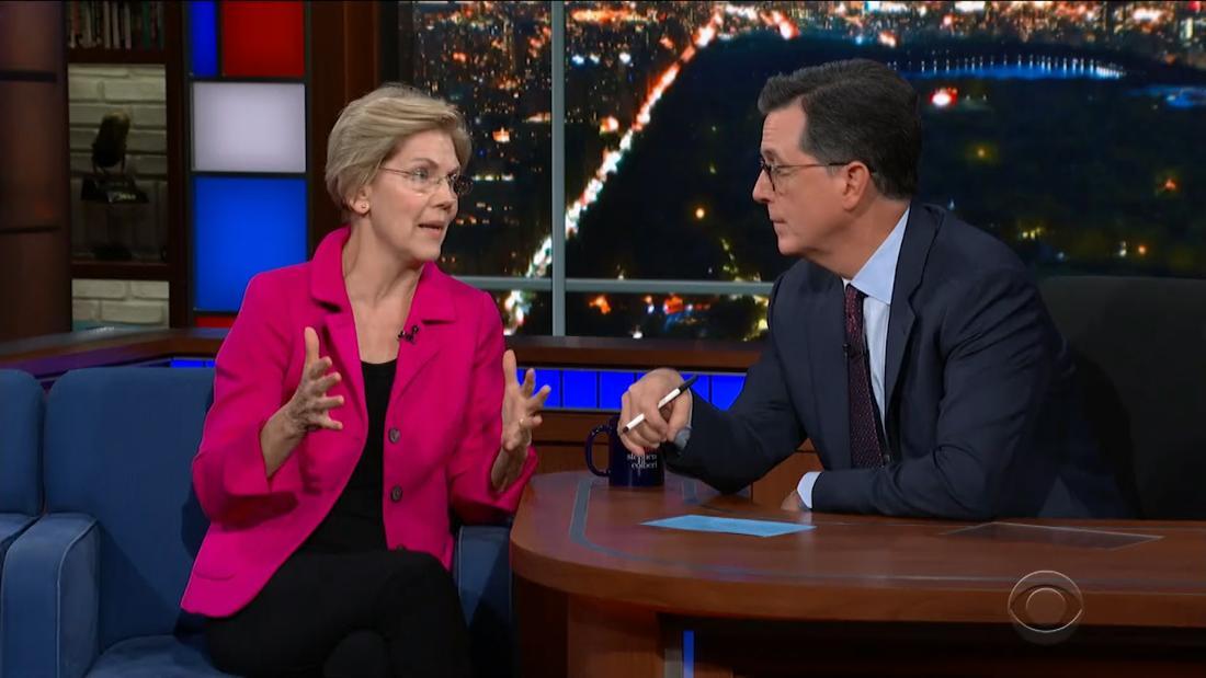 Warren hielt Kälte, die von Colbert ' s Frage