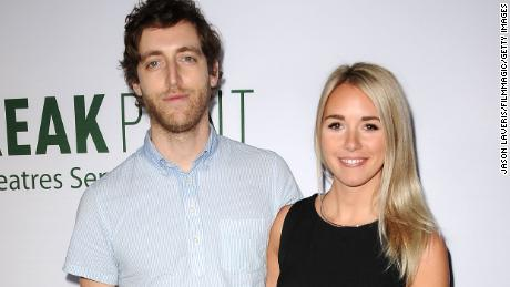 "HOLLYWOOD, CA - AUGUST 27:  Actor Thomas Middleditch and wife Mollie Middleditch attend a screening of ""Break Point"" at TCL Chinese 6 Theatres on August 27, 2015 in Hollywood, California.  (Photo by Jason LaVeris/FilmMagic)"