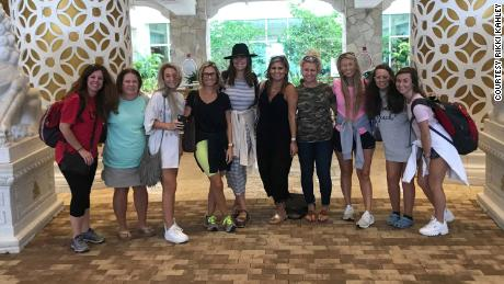 The bride to be, Rikki Kahley, fourth from left, poses with her bachelorette party, including her mother, Sandy Gibbs Kahley, second from left, and sister Chloe, third from left.