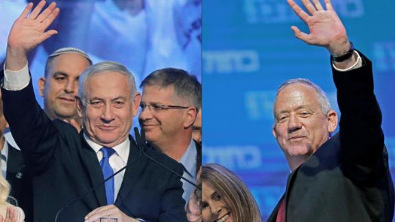 (COMBO) This combination of pictures created on September 18, 2019 shows Israeli Prime Minister Benjamin Netanyahu (L) waving to supporters at his Likud party's electoral campaign headquarters early on September 18, 2019, and Benny Gantz, leader and candidate of the Israel Resilience party that is part of the Blue and White (Kahol Lavan) political alliance, waving to supporters alongside his wife Revital Gantz at the alliance's campaign headquarters in the Israeli coastal city of Tel Aviv early on September 18, 2019. - Netanyahu and his main challenger Gantz were locked in a tight race in the country's general election after polls closed, exit surveys showed, raising the possibility of another deadlock. Three separate exit polls carried by Israeli television stations showed Netanyahu's right-wing Likud and Gantz's centrist Blue and White alliance with between 31 and 34 parliament seats each out of 120. (Photos by Menahem KAHANA and EMMANUEL DUNAND / AFP)        (Photo credit should read MENAHEM KAHANA,EMMANUEL DUNAND/AFP/Getty Images)