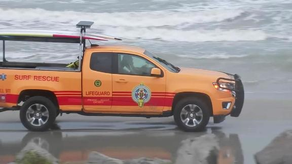 Galveston Island Beach Patrol prepared for rescues as the storm moved through.