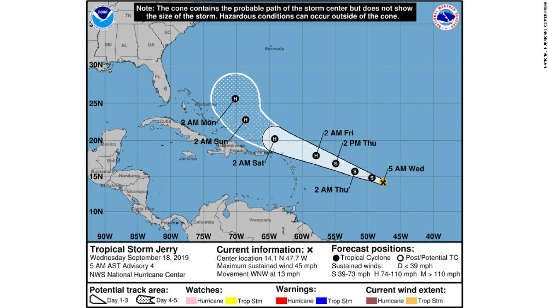Tropical Storm Jerry has formed in the Atlantic and could become a hurricane later this week