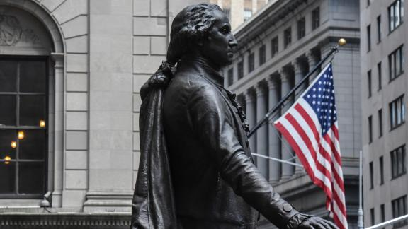 NEW YORK, NY - AUGUST 01: A statue of George Washington is seen near the New York Stock Exchange building along Wall Street on August 1, 2018 in New York City. The Federal Reserve did not make a change in the interest rate as some experts had predicted. (Photo by Stephanie Keith/Getty Images)