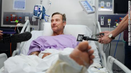 Australian bushwalker, Neil Parker, speaking to the media from a hospital bed after being stranded on Mount Nebo for two days.