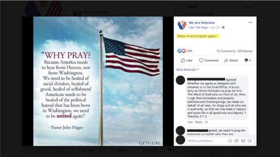 """In this screengrab from a Vietnam Veterans of America report, the Trump campaign's """"Make America great again"""" (MAGA) slogan was shared in the comment with this post."""