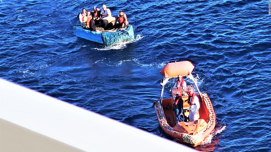 A cruise ship rescued seven migrants from a flimsy boat near Cuba
