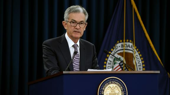 Federal Reserve Board Chairman Jerome Powell speaks at a news conference after a Federal Open Market Committee meeting on September 18, 2019 in Washington, DC. - The US Federal Reserve cut its benchmark interest rate for the second time this year on Wednesday but the policy committee is divided, with three of the 10 voting members dissenting.The central bank also moved to ease concerns about a cash crunch on financial markets by adjusting its key policy tool to help pump more funds through the financial plumbing.