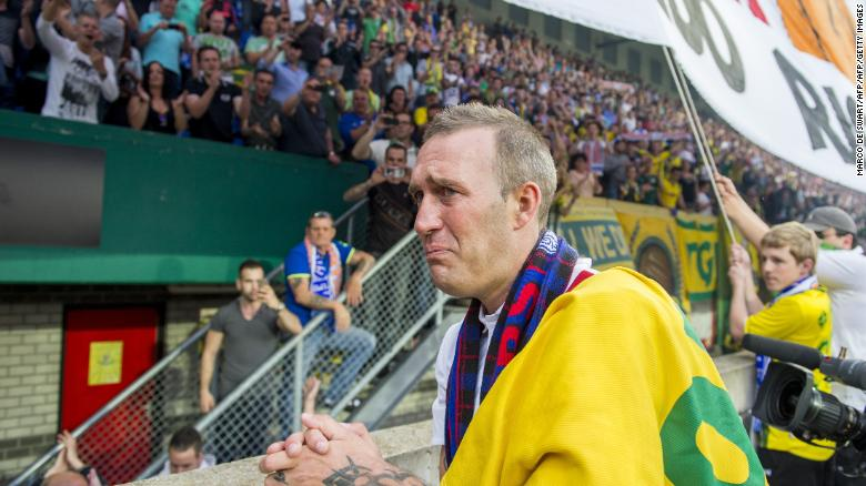 Former Dutch soccer player Fernando Ricksen reacts following a charity football match in his childhood town of Sittard in 2014.