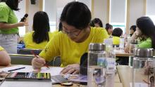 Yoo Chae-rin, 16, join in smartphone-free activities at a government smartphone addiction camp in Cheonan, South Korea.