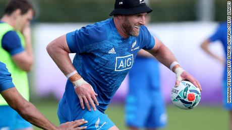TOKYO, JAPAN - SEPTEMBER 17: Kieran Read of the All Blacks runs through drills during a New Zealand All Blacks Rugby World Cup Training Session at Tatsuminomori Seaside Park 2 on September 17, 2019 in Tokyo, Japan. (Photo by Hannah Peters/Getty Images)