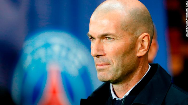 Real Madrid's French coach Zinedine Zidane looks on at Parc des Princes, Paris.