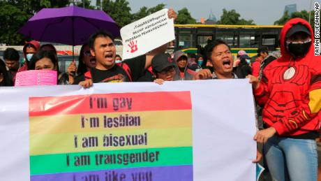 LGBT activists rally against a planned revision to Indonesia's criminal code that would criminalize unmarried and gay sex in Jakarta, Indonesia on Feb. 12, 2018. While the protest took place last year, the demonstration was against the same criminal code bill.