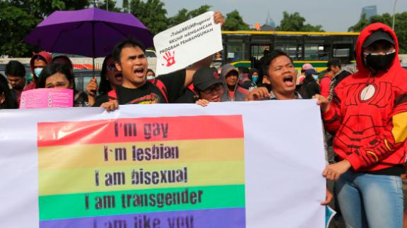 LGBT activists rally against a planned revision to Indonesia