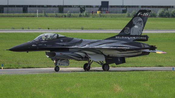 A Belgian Air Force F-16 AM fighter jet seen at the 53rd Paris Air Show in June 2019.