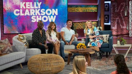 Randy Jackson, Paula Abdul, Simon Cowell and Kelly Clarkson on her new talk show.