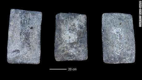Some of the studied tin ingots from the sea off the coast of Israel (approx. 1300-1200 BC).