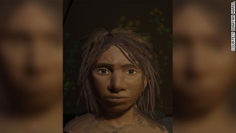 A portrait in progress of a young female Denisovan.