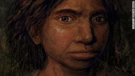 This image shows a portrait of a juvenile female Denisovan based on a skeletal profile reconstructed from ancient DNA methylation maps. CREDIT Maayan Harel