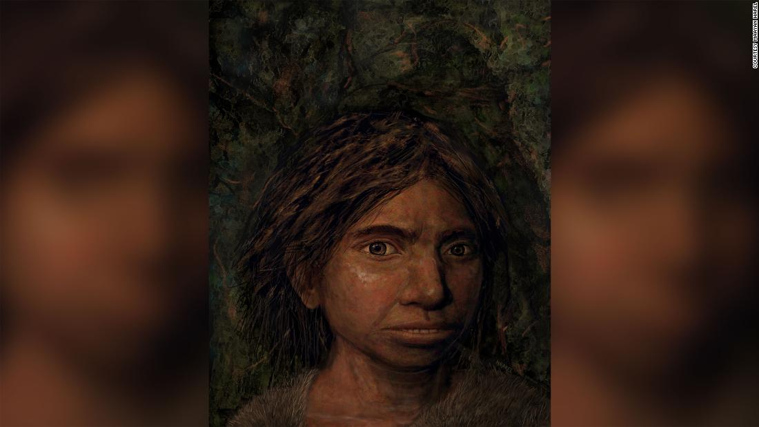 This is the first depiction of what mysterious ancient humans called Denisovans, a sister group to Neanderthals, looked like. This image shows a young female Denisovan, reconstructed based on DNA methylation maps. The art was created by Maayan Harel.