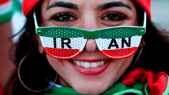 TOPSHOT - An Iranian supporter is seen outside the stadium ahead of the Russia 2018 World Cup Group B football match between Iran and Spain at the Kazan Arena in Kazan on June 20, 2018. (Photo by Benjamin CREMEL / AFP) / RESTRICTED TO EDITORIAL USE - NO MOBILE PUSH ALERTS/DOWNLOADS        (Photo credit should read BENJAMIN CREMEL/AFP/Getty Images)
