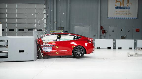 Action shot taken during the driver-side small overlap frontal crash test