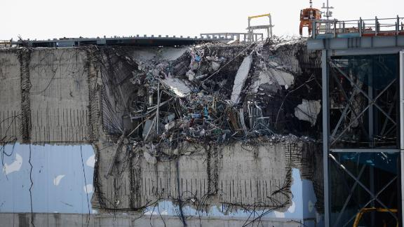 A general view of damage to No. 3 reactor building at Fukushima Daiichi nuclear power plant.
