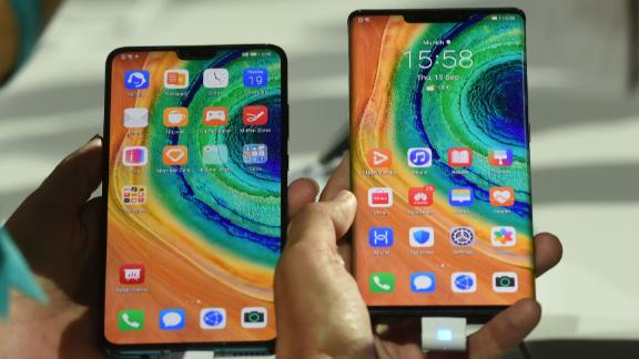 "Huawei's ""Mate 30 Pro"", the latest smartphone by the Chinese tech giant Huawei, is displayed after a presentation to reveal Huawei's latest smartphones ""Mate 30"" and ""Mate 30 Pro"" in Munich, southern Germany, on September 19, 2019. - The latest high-end smartphone of Chinese giant Huawei could be the first that could be void of popular Google apps because of US sanctions. (Photo by Christof STACHE / AFP)        (Photo credit should read CHRISTOF STACHE/AFP/Getty Images)"