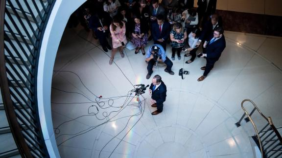House Intelligence Committee chairman Rep. Adam Schiff (D-CA) speaks to reporters during a briefing on Capitol Hill about a whistleblower September 19, 2019, in Washington, DC.