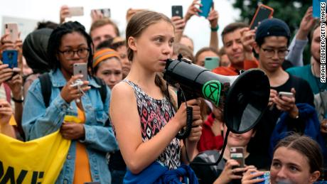 Greta Thunberg delivers brief remarks during a strike to demand action be taken on climate change outside the White House.