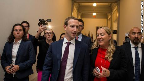 Facebook CEO Mark Zuckerberg walks to a meeting with Sen. Josh Hawley (R-MO) on September 19, 2019 in Washington, DC. Zuckerberg also met with Sen. Maria Cantwell (D-WA) and Sen. Mike Lee (R-UT) to discuss internet regulation.