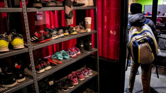 Shoes are seen on shelves at the Rohingya Cultural Center of Chicago on January 11, 2019 in Chicago, Illinois. Chicago has one of the largest number of Rohingya refugees that have been resettled in the United States, at more than 1,600.