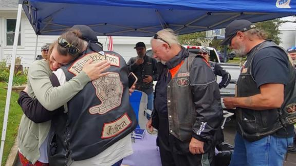 The bikers came to show their support for the daughter of a woman who helped save their lives.