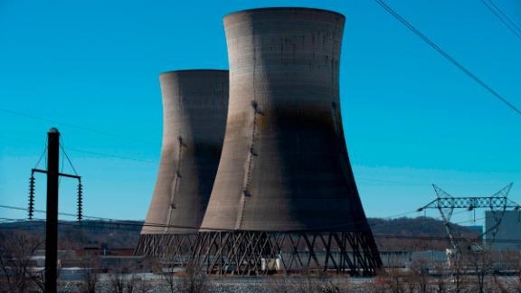 The unused cooling towers, shut down after the 1979 partial meltdown, are seen at Three Mile Island  in Middletown, Pennsylvania on March 26, 2019.