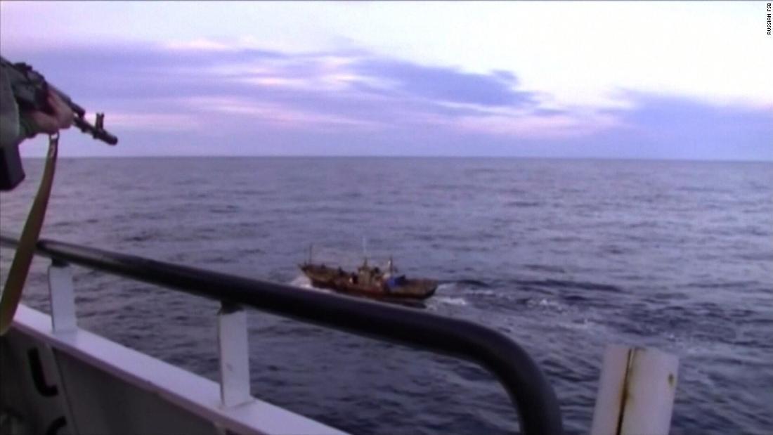 Rare footage of Russian firing warning shots at sea