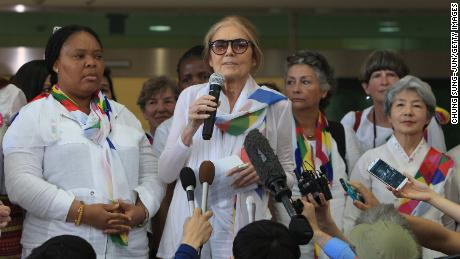 US activist Gloria Steinem speaks during a press conference after arrival from North Korea at the customs, immigration and quarantine office on May 24, 2015 in Paju, South Korea.
