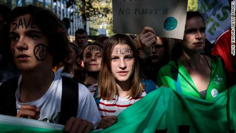 BRUSSELS, BELGIUM - SEPTEMBER 20: Protesters march through Brussels with placards as they take part in a Global Climate Strike demonstration on September 20, 2019 in Brussels, Belgium. Millions of people join protests around the world today to mark the start of a week of global climate strikes, with activists calling on their Governments to urgently address the climate crisis. (Photo by Jack Taylor/Getty Images)