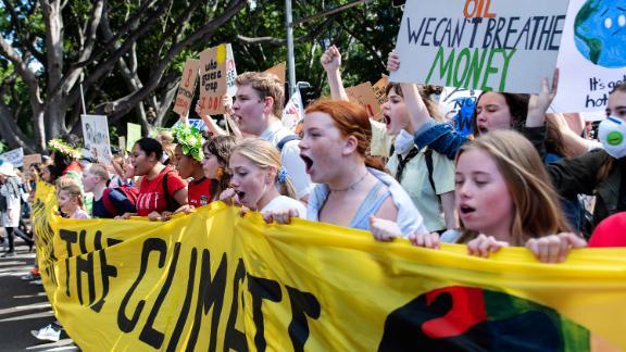 People march in Sydney, Australia.