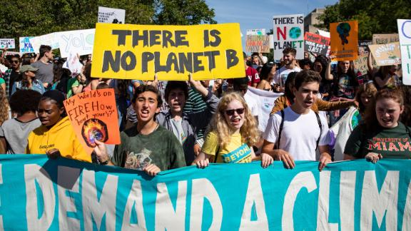Protesters gather in John Marshall Park in Washington on Friday, September 20, as they take part in a global climate strike