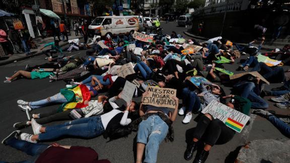 People protest in La Paz, Bolivia.