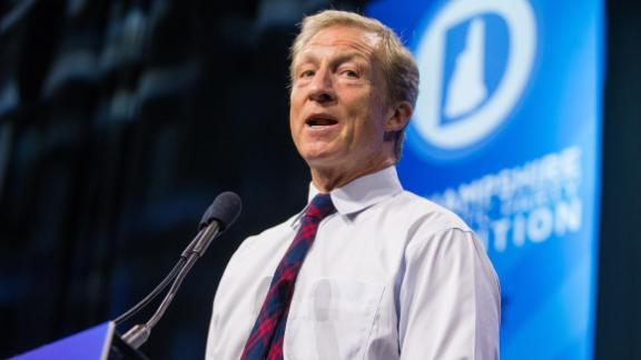 Democratic presidential candidate, billionaire Tom Steyer speaks during the New Hampshire Democratic Party Convention at the SNHU Arena  on September 7, 2019 in Manchester, New Hampshire.