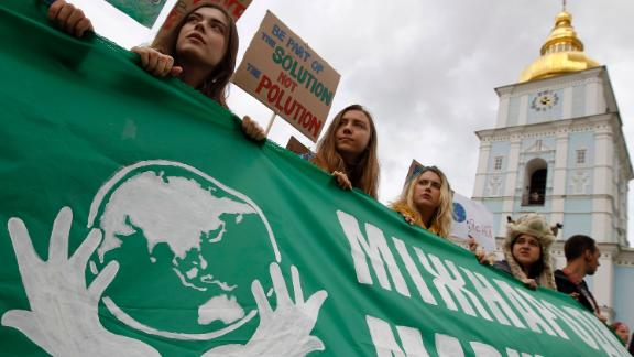 Students take part in a rally in Kiev, Ukraine.