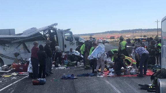 The bus crashed on Utah Highway 12, a few miles west of Bryce Canyon National Park. CNN obscured parts of this image, as the condition of the victims could not be verified.