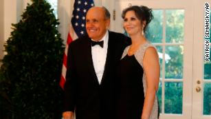 Rudy Giuliani and Maria Ryan arrive for a State Dinner at the White House.