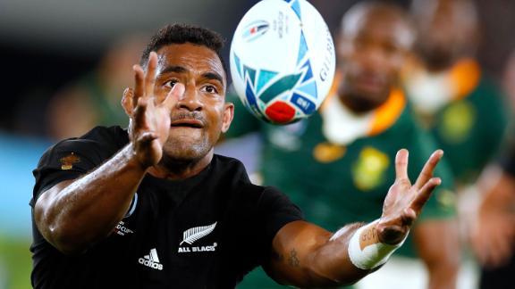 New Zealand's wing Sevu Reece catches the ball.