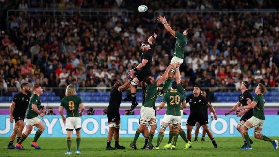 Franco Mostert of South Africa wins a line out against Kieran Read of New Zealand.