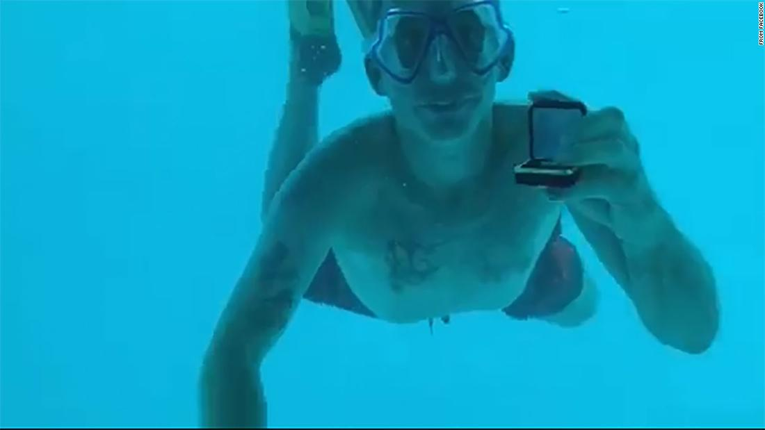 He proposed to her underwater, then failed to return to the surface