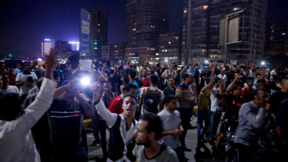 Protesters call for the removal of President Abdel Fattah el-Sisi in the capital Cairo on Friday.